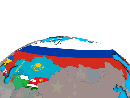 Former Soviet Union with embedded national flags on political 3D globe. 3D illustration. Stock Photo