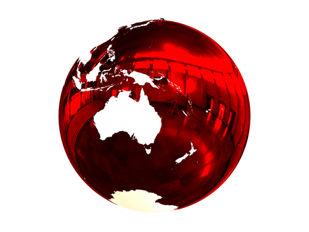 Red Christmas ball with texture of Earths surface facing Australia. 3D illustration, isolated on white background