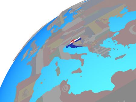 Croatia with embedded national flag on globe. 3D illustration.