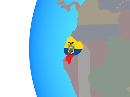 Ecuador with embedded national flag on blue political globe. 3D illustration.