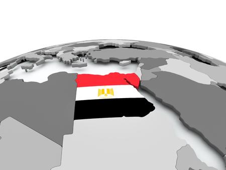 Egypt on grey political globe with embedded flag. 3D illustration.