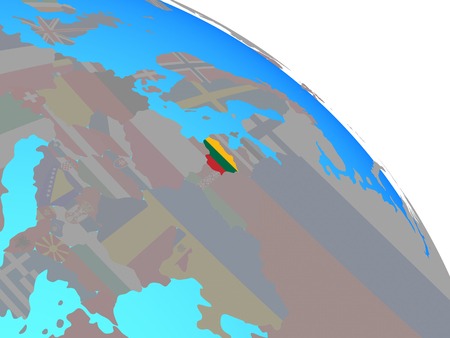 Lithuania with national flag on simple blue political globe. 3D illustration.