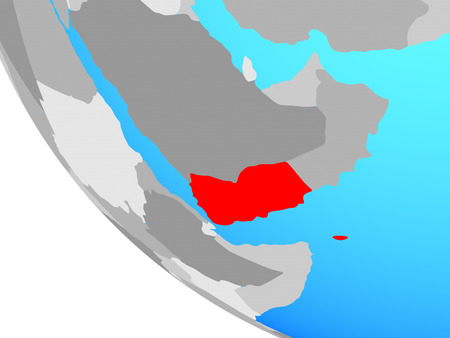 Yemen on simple globe. 3D illustration.