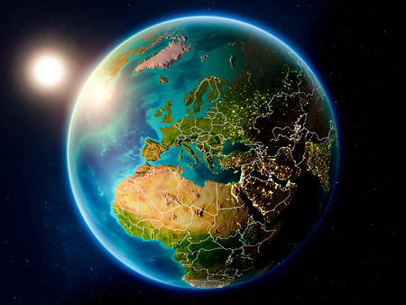 Sunset above Montenegro highlighted in red on planet Earth with visible country borders. 3D illustration. Stock Photo