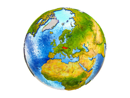 Former Czechoslovakia on 3D model of Earth with country borders and water in oceans. 3D illustration isolated on white background.