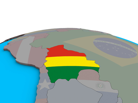Bolivia with embedded national flag on political 3D globe. 3D illustration.