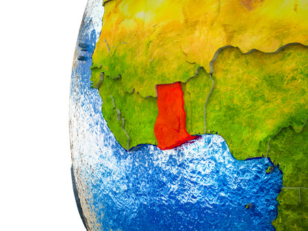 Ghana highlighted on 3D Earth with visible countries and watery oceans. 3D illustration.