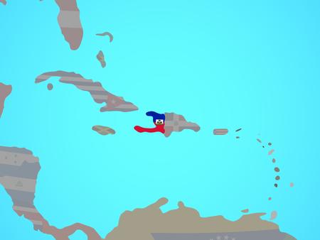 Haiti with national flag on blue political globe. 3D illustration.