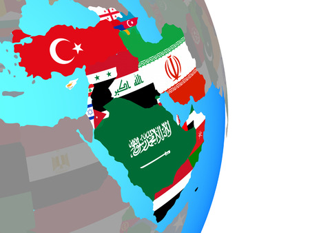 Western Asia with national flags on simple political globe. 3D illustration.
