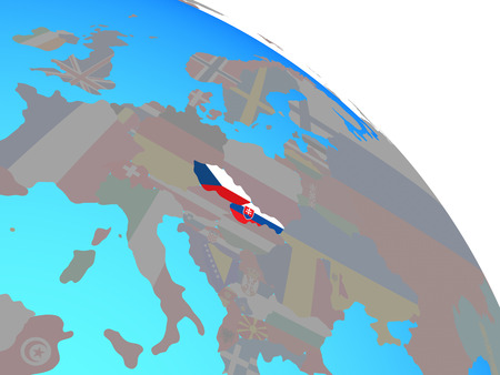 Former Czechoslovakia with national flags on simple blue political globe. 3D illustration. Stok Fotoğraf