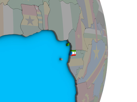 Equatorial Guinea with embedded national flag on simple political 3D globe. 3D illustration.