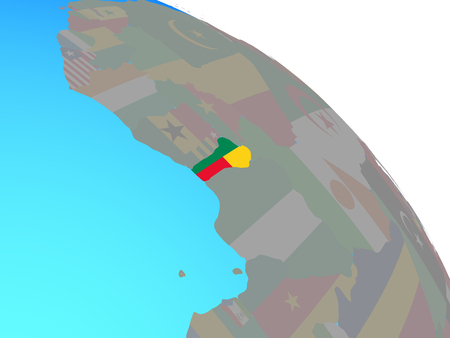 Benin with national flag on simple blue political globe. 3D illustration. Stock Photo