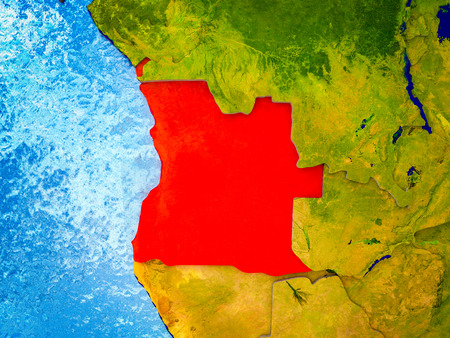 Angola on model of 3D Earth with blue oceans and divided countries. 3D illustration.