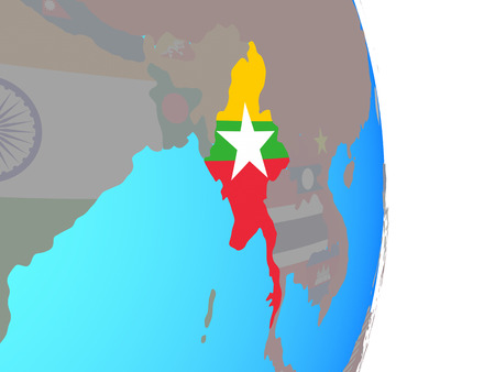 Myanmar with national flag on simple political globe. 3D illustration. Stockfoto