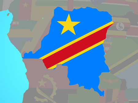 Dem Rep of Congo with national flag on blue political globe. 3D illustration.