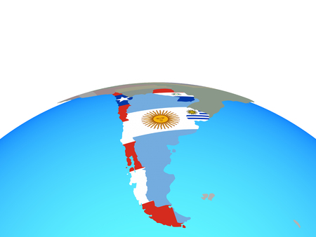 Southern Cone with national flags on political globe. 3D illustration. Imagens