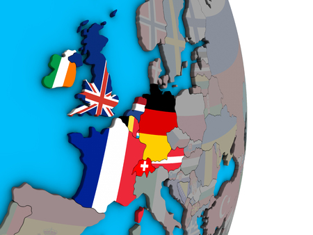 Western Europe with embedded national flags on simple political 3D globe. 3D illustration.