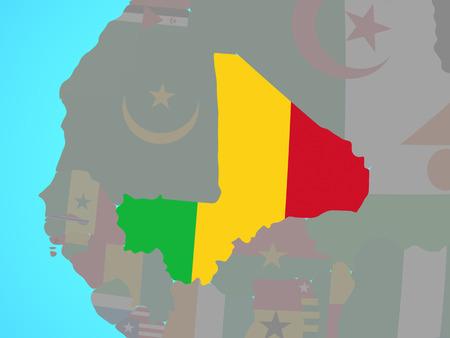 Mali with national flag on blue political globe. 3D illustration.
