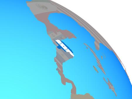 Honduras with national flag on simple blue political globe. 3D illustration.