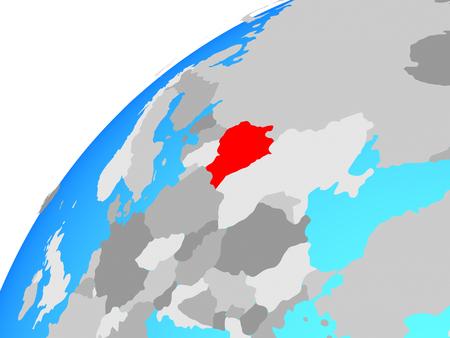 Belarus on globe. 3D illustration.
