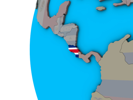 Costa Rica with national flag on blue political 3D globe. 3D illustration.