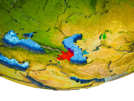 Azerbaijan on 3D Earth with divided countries and watery oceans. 3D illustration. Stockfoto