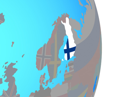 Finland with national flag on simple political globe. 3D illustration.