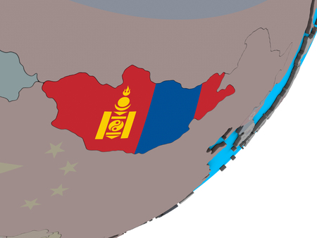 Mongolia with national flag on blue political 3D globe. 3D illustration. 写真素材