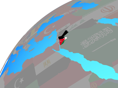 Jordan with embedded national flag on globe. 3D illustration. 스톡 콘텐츠