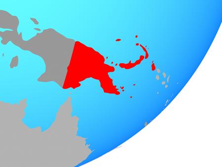 Papua New Guinea on blue political globe. 3D illustration.