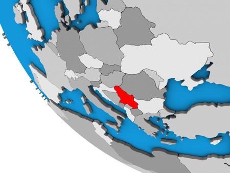 Serbia on simple 3D globe. 3D illustration. Stok Fotoğraf