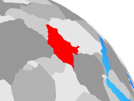 South Sudan on simple blue political globe. 3D illustration.