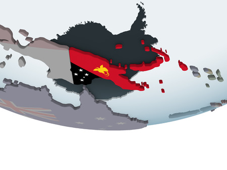 Papua New Guinea on political globe with embedded flag. 3D illustration. Stock Photo