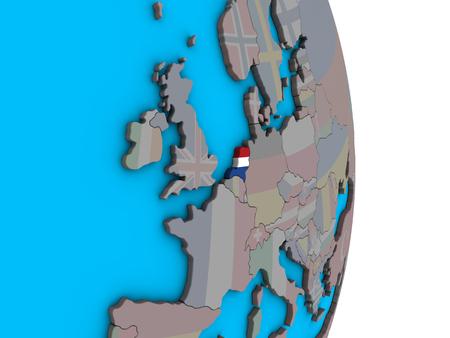 Netherlands with embedded national flag on simple political 3D globe. 3D illustration.