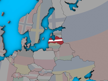 Latvia with embedded national flag on blue political 3D globe. 3D illustration.