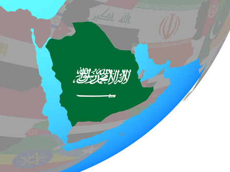 Saudi Arabia with embedded national flag on blue political globe. 3D illustration. Stock Photo