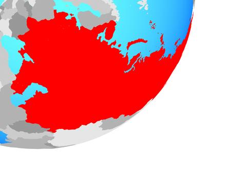 Soviet Union on blue political globe. 3D illustration.
