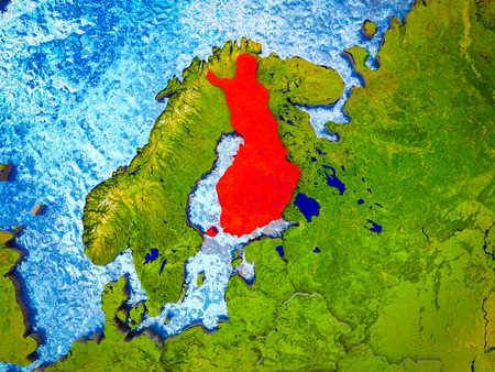 Finland on model of 3D Earth with blue oceans and divided countries. 3D illustration.