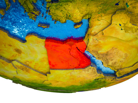 Egypt on 3D Earth with divided countries and watery oceans. 3D illustration. Stok Fotoğraf - 110550332