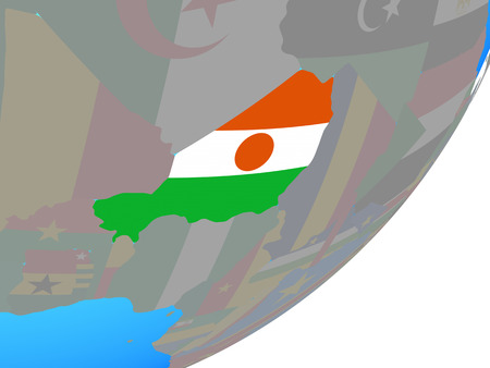 Niger with embedded national flag on blue political globe. 3D illustration. Stock Photo