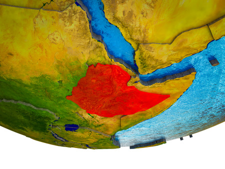 Ethiopia on 3D Earth with divided countries and watery oceans. 3D illustration. Banque d'images - 110550350