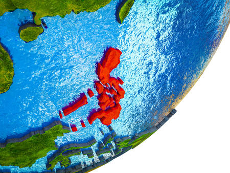 Philippines on 3D model of Earth with water and divided countries. 3D illustration. Фото со стока