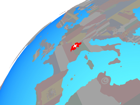 Switzerland with embedded national flag on globe. 3D illustration. Banque d'images - 110550533