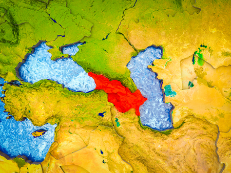 Caucasus region on model of 3D Earth with blue oceans and divided countries. 3D illustration.