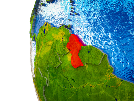 Guyana highlighted on 3D Earth with visible countries and watery oceans. 3D illustration.