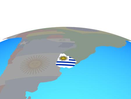 Uruguay with national flag on political globe. 3D illustration. Imagens