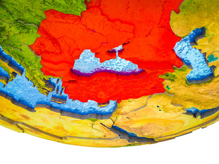 Black Sea Region on 3D Earth with divided countries and watery oceans. 3D illustration.
