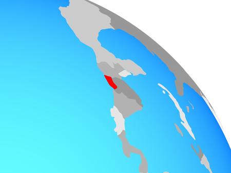 El Salvador on simple blue political globe. 3D illustration.