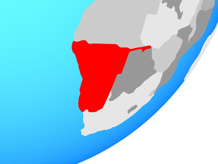 Namibia on blue political globe. 3D illustration.