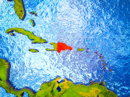 Dominican Republic on model of 3D Earth with blue oceans and divided countries. 3D illustration.